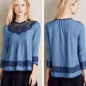 Anthro Holding Horses Perra Lace Chambray Top